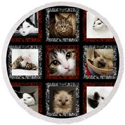 Kitty Cat Tic Tac Toe Round Beach Towel