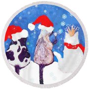 Kitty Christmas Round Beach Towel