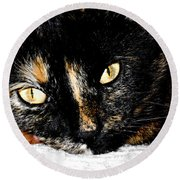 Kitty Face Round Beach Towel