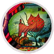 Kitty In A Fish Bowl - Abstract Cat Round Beach Towel
