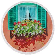 Kitzbuhel Window Round Beach Towel by Mary Ellen Mueller Legault