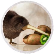 Kiwi Bird And Kiwifruit Round Beach Towel