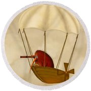 Kiwi Bird Kev's Airship Round Beach Towel