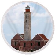 Round Beach Towel featuring the photograph Klein Curacao Lighthouse by David Millenheft