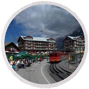 Kleine Schedegg Switzerland Round Beach Towel