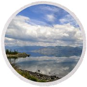 Round Beach Towel featuring the photograph Kluane Reflections by Cathy Mahnke