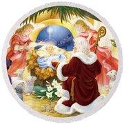 Kneeling Santa Nativity Round Beach Towel