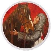 Knight And Horse Round Beach Towel