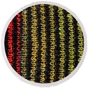 Round Beach Towel featuring the photograph Knitted Striped Scarf by Les Palenik