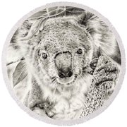 Koala Garage Girl Round Beach Towel