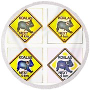 Koalas Road Sign Pop Art Round Beach Towel
