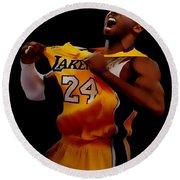 Kobe Bryant Sweet Victory Round Beach Towel by Brian Reaves