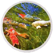 Round Beach Towel featuring the photograph Koi 1 by Pamela Cooper