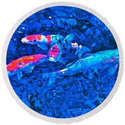 Round Beach Towel featuring the photograph Koi 2 by Pamela Cooper