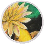 Round Beach Towel featuring the painting Koi And The Lotus Flower by Jeanne Fischer
