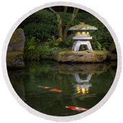 Koi By Lantern Light Round Beach Towel