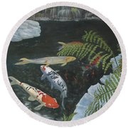Koi Fish Round Beach Towel