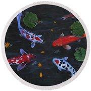 Round Beach Towel featuring the painting Koi Fishes Original Acrylic Painting by Georgeta  Blanaru