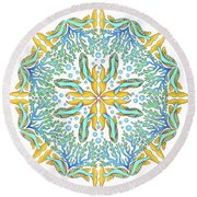 Koi Mandala Round Beach Towel by Stephanie Troxell