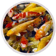 Round Beach Towel featuring the photograph Koi Pond 2 by Marie Hicks