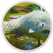 Koi Pond Fish Santa Barbara Round Beach Towel