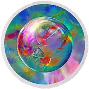 Koi Pond In The Round Round Beach Towel by Robin Moline
