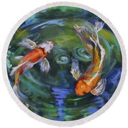 Koi Swirl Round Beach Towel by Donna Tuten