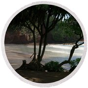 Koki Beach Hana Maui Hawaii Round Beach Towel by Sharon Mau