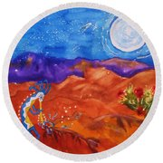 Kokopelli Playing To The Moon Round Beach Towel by Ellen Levinson