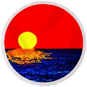 Kona Sunset Pop Art Round Beach Towel