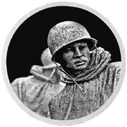 Round Beach Towel featuring the painting Korean War Veterans Memorial by Bob and Nadine Johnston