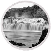 Krka Waterfalls Bw Round Beach Towel