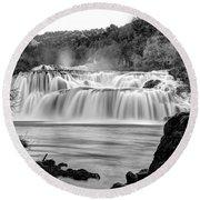 Krka Waterfalls Bw Round Beach Towel