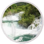 Krka Waterfalls Croatia Round Beach Towel