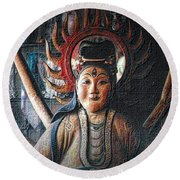 Round Beach Towel featuring the photograph Kuan Yin by Nadalyn Larsen