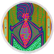 Kuna Indian Mother Earth Round Beach Towel by Vagabond Folk Art - Virginia Vivier
