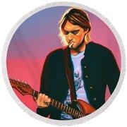 Kurt Cobain In Nirvana Painting Round Beach Towel