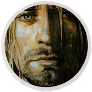 Round Beach Towel featuring the painting Kurt Cobain by Laur Iduc