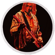 Kurt Cobain Painting Round Beach Towel by Paul Meijering