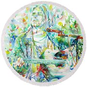 Kurt Cobain Playing The Guitar - Watercolor Portrait Round Beach Towel by Fabrizio Cassetta