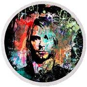 Kurt Cobain Portrait Round Beach Towel