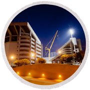 Kyle Field At Night Round Beach Towel by Linda Unger