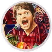 Round Beach Towel featuring the painting Kyle Hollingsworth At Hornin'gs Hideout by Joshua Morton