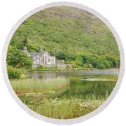Round Beach Towel featuring the photograph Kylemore Abbey 1 by Mary Carol Story