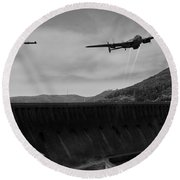 L For Leather Over The Eder Dam Black And White Version Round Beach Towel