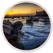 La Caleta Beach Cadiz Spain Round Beach Towel