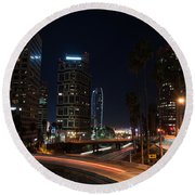 Round Beach Towel featuring the photograph La Down Town 2 by Gandz Photography