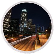 Round Beach Towel featuring the photograph La Down Town by Gandz Photography