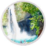 La Fortuna Waterfall Round Beach Towel by Carlin Blahnik