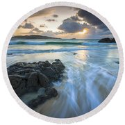 La Fragata Beach Galicia Spain Round Beach Towel